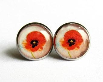 Red Poppy Earrings - Red Flower Earrings - Floral Earrings - Poppy Jewellery - Summer Flower Jewelry - Nature Lover Gift - Hypoallergenic