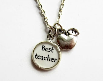 Teacher Necklace, Best Teacher Charm Necklace, Teacher Jewelry, Thank You Teacher Gift, Teacher Graduation, Apple Necklace, Apple Charm