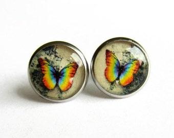 Rainbow Butterfly Earrings, Butterfly Picture Earrings, Resin Art Stud Earrings, Jewellery Gift for Her, Hypoallergenic