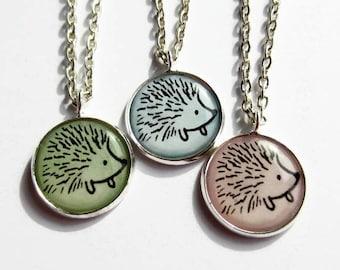 Cute Hedgehog Necklace - Hedgehog Pendant - Hedgehog Jewelry - Animal Jewellery - Hedgehog Lover Gift - Hedgehog Lover - Pastel Colours