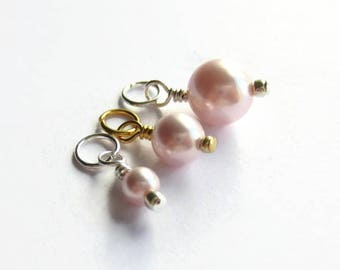 SINGLE Swarovski Crystal Pink Pearl Charm, Prewired Charm, Add a Dangle - Silver Plated, Gold Plated, Sterling Silver - 3 Sizes