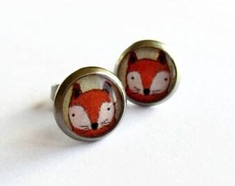 Red Fox Earrings - Hypoallergenic Orange Fox Stud Earrings - Fox Lover Gift - Woodland Animal - Quirky Jewelry - 10mm
