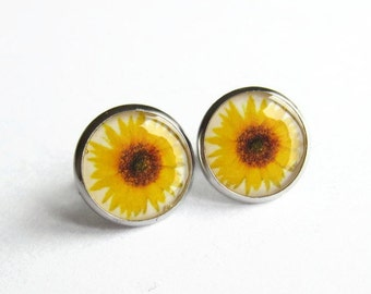 Sunflower Earrings, Sun Flower Studs, Yellow Flower Picture Earrings, Jewellery Gift for Her, Hypoallergenic