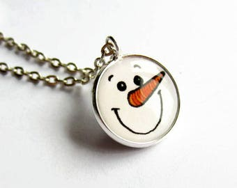 Cute Snowman Necklace - Snowman Jewelry - Christmas Necklace - Holiday Gift Ideas - Xmas Gift - Festive Jewellery - Stocking Filler