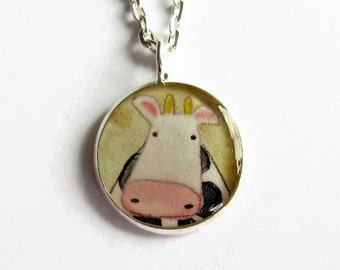Cute Cow Necklace - Cow Pendant Necklace - Cow Lover Gift - Cow Jewellery - Farm Girl Gift - Dairy Cow Farmer Gift - Rancher Gift