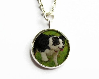 Small Custom Photo Necklace, Personalised Pendant, Personalized Keepsake Jewellery, Pet Photo, Gift for Her, Silver Plated