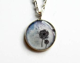 Blue Dandelion Necklace, Dandelion Picture Pendant, Resin Jewelry