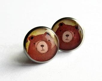 Brown Bear Earrings - Cute Bear Studs - Grizzly Bear Drop Earrings - Bear Jewellery - Momma Bear Gifts - Animal Jewelry - Resin Jewelry