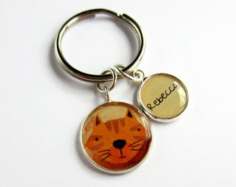 Cat Keyring - Custom Name Keychain - Personalised Cat Lover Gift - Crazy Cat Lady Gift - Cat Accessories