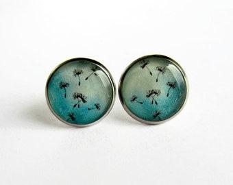 Dandelion Earrings - Aqua Blue Dandelion Studs - Mothers Day Gift - Dandelion Jewelry - Dandelion Seeds - Hypoallergenic Surgical Steel