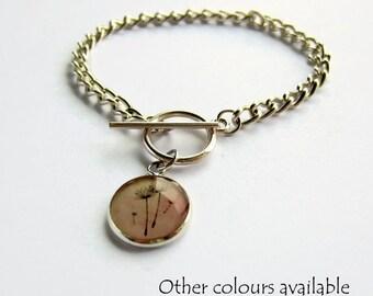 Pink Dandelion Charm Bracelet - Make Wish Bracelet - Gift for Best Friend - Dainty Silver Chain Bracelet - Nature Lover Gift - Choose Colour