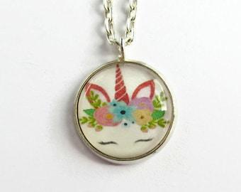 Cute Unicorn Necklace - Unicorn Pendant - Unicorn Lover Gift - Magical Jewelry - Resin Jewellery