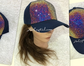CUSTOMIZED BLING CAP   Hat Bedazzled with Rainbow Volcano Crystal Rhinestone  Glitter Shinny Sparkly - Swarovski is avaialble 04d105c3ff9