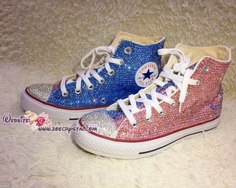 fcf7628491 Customize Your Wedding Converse Chuck Taylor All Star SNEAKERS with  Shinning and bling Rhinestones CRYSTALS Wedding