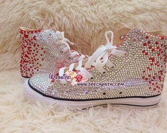 Bling CONVERSE Chuck Taylor All Star SNEAKERS with shinning and Stylish CRYSTALS - Red and White