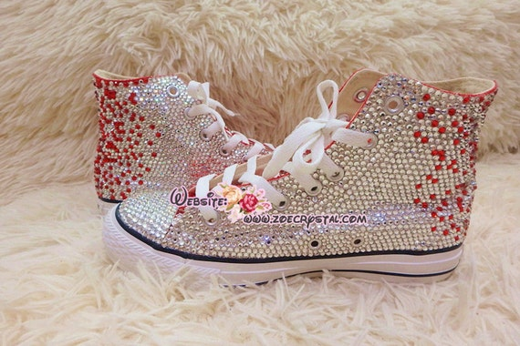 Bling CONVERSE Chuck Taylor All Star SNEAKERS with shinning and Stylish CRYSTALS Red and White