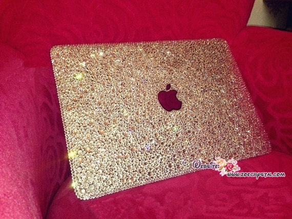 hot sale online 51b37 9ba7a Bedazzled Bling MACBOOK Air Pro Case Cover Clear White Swarovski Crystal  Rhinestone Strass Glitter Sparkly Shinny Random Bejeweled