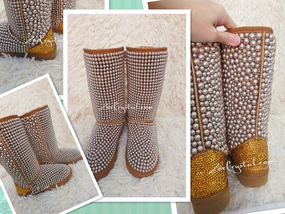 New Color**PROMOTION Color**PROMOTION Color**PROMOTION WINTER Bling and Sparkly Tall Brown and Gold Pearls SheepSkin Wool BOOTS w shinning Czech or Swarovski crystals | Pour Gagner L'éloge Chaleureux Auprès De Ses Clients  414c75