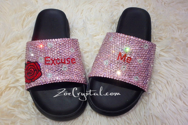 8cc9490db Customized Bling Bedazzled SANDALS / SLIDES / Slippers with   Etsy