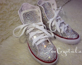 New Color **Bling CONVERSE Chuck Taylor All Star SNEAKERS with shinning and Stylish CRYSTALS - White