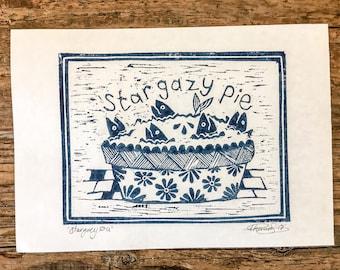 Stargazy Pie Lino cut print