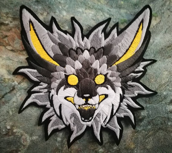 """5.5"""" Luminescence SLATE GREY~ Embroidered iron-on patch, bright neon colours, kitsune, fantasy fox"""