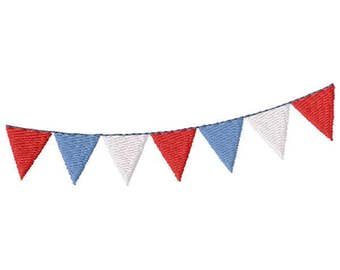 Bunting Flags Machine Embroidery Design - Instant Download