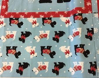Christmas Cushion Panel Scottie Dogs On Light Blue