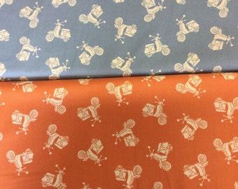 Teddy Bears on Scooters Fabric Cream Nursery Baby Makower UK Cotton Quilt //Yd