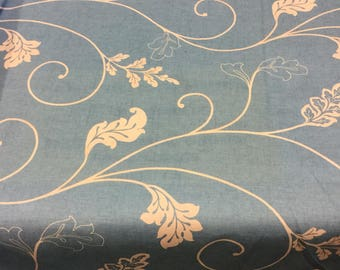 Colourama curtain fabric in teal leaf design by the metre