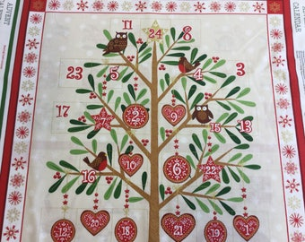 Makeower 1797 Metallic Advent Panel 100% Cotton Fabric by the 60 cm panel