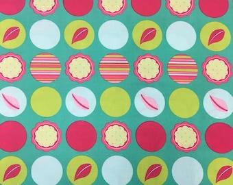 Michael miller designer cotton craft mod dots in aqua by the half metre