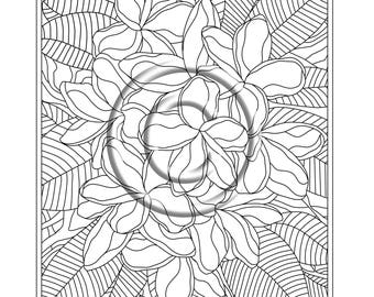 Instant PDF Download Coloring Page Hand Drawn Zentangle Inspired Psychedelic Pretty Plumeria Abstract Zendoodle Doodle Hippie By Kat