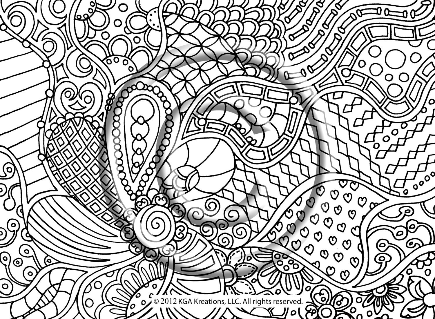 Instant PDF Download Coloring Page Hand Drawn Zentangle | Etsy