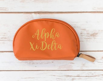 Sorority Gift, Alpha Xi Delta Make up Pouch, Sorority, Make up bag, Zipper Pouch, sorority gift