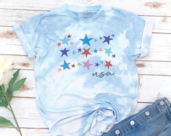 America Shirt, 4th of July, Memorial day, USA shirt, Women's Shirt, Vintage, Stars and Stripes Shirt, Gift for Mom, Gift for Women, Tie Dye