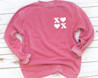 Valentine's Day, Pink Sweatshirt, Chunky Fleece, XOXO, Love, Washed, Garment dyed, Gift for wife, Gift for Girlfriend, Friend gift
