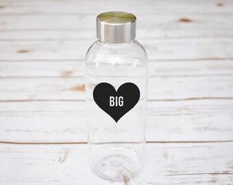 Big and Little Water Bottle, Sorority Water Bottle, Heart, Plastic BPA Free Bottle