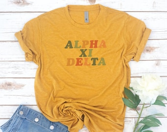 Retro, Vintage, Sorority, Theta Phi Alpha, Alpha Phi, Phi Sigma Sigma, Alpha Xi Delta, Recruitment shirts, Big little shirts, Delta Gamma