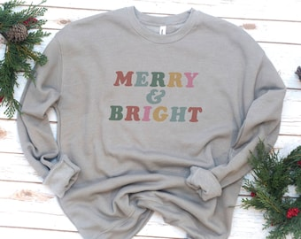 Christmas Sweatshirt, Gift for women, Christmas gift, Merry and Bright, Fleece, Gift, Retro, Vintage, Holiday, Christmas Gift,  Long sleeve