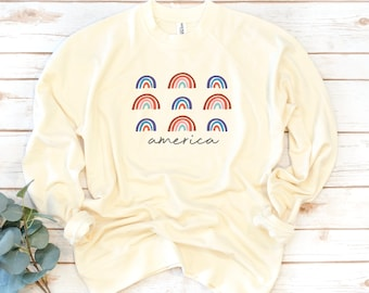 America Sweatshirt, USA Rainbow, Fourth of July, USA, Women's Shirt, 4th of July, Memorial Day, 1776, Independence Day Shirt