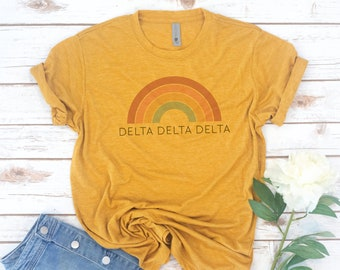 Retro Sorority, Vintage, Sorority, Gamma Phi, Tri Delta, Phi Sigma Sigma, Alpha Xi Delta, Recruitment shirts, Big little shirts, Alpha Phi