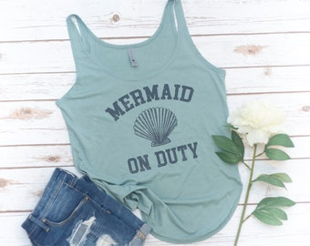 Mermaid on Duty Tank, Mermaid Tank, Mermaid, Mermaid shells, birthday gift,