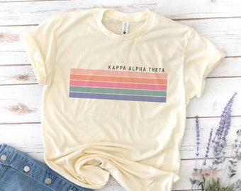 Retro Sorority Shirt, Stripes, Vintage, Kappa Delta Shirt, Gamma Phi Beta Shirt, alpha Kappa Delta Phi, Alpha Phi Omega, Big and Little Tee