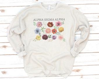 Sorority Pullover, Vintage, Gamma Phi Beta, Floral, Sorority gift, Alpha Sigma Alpha, Phi Sigma Sigma, Alpha Chi Omega, Fleece