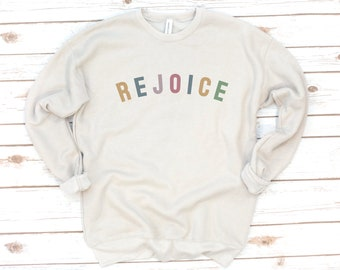 Christian Sweatshirt, Rejoice, Hallelujah, Jesus, Easter, Fleece, Bible Verse Shirt, Bible Verse, Love, Gift for friend, Gift for women
