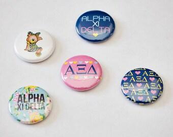 """Alpha Xi Delta 1"""" Buttons, AZD, Alpha Xi, Laurel and Olive"""