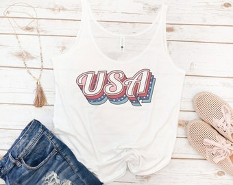USA tank, 4th of July, Memorial day, America Tank, Women's Tank, Vintage, Red White Blue Shirt, Gift for Mom, Gift for Woman
