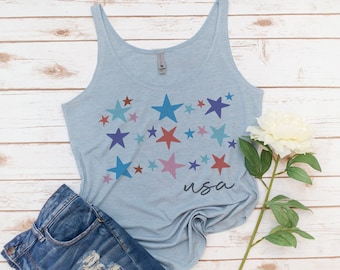 USA tank, 4th of July, Stars, Memorial day, America Tank, Women's Tank, Vintage, Red White Blue Shirt, Gift for Mom, Gift for Woman