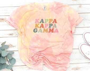 Tie Dye Sorority Shirt, Retro, Vintage, Gamma Phi Beta, Alpha Gamma Delta, Kappa Alpha Theta, Alpha Delta Pi, Recruitment, big little shirts